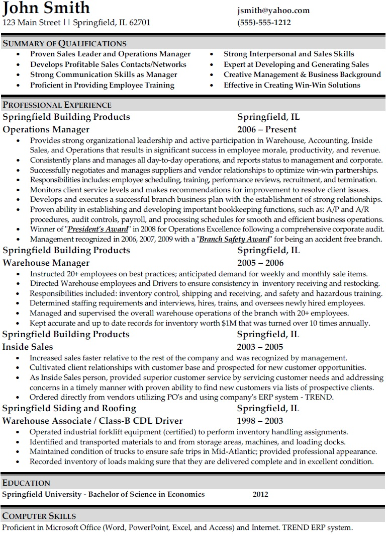 free sample resume for administrative manager